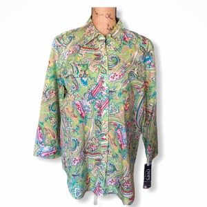 {CHAPS} New Paisley Floral Button Down